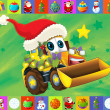The christmas card - happy illustration for the children - cars - vehicles - Stok fotoğraf