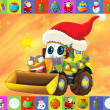 The christmas card - happy illustration for the children - cars - vehicles - ストック写真