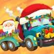 Stock Photo: Colorful illustration with truck