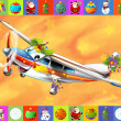The happy christmas scene - with frame - christmas plane - vehicle - illustration for the children — Stock Photo