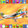 Stock Photo: The happy christmas scene - with frame - christmas plane - vehicle - illustration for the children