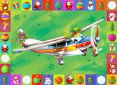 Szczęśliwy sceny - z rama - boże narodzenie boże narodzenie samolot - pojazd - ilustracja dla dzieci — Zdjęcie stockowe