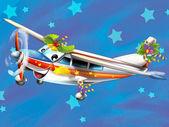 Glad jul scen - med ram - jul plan - fordon - illustrationen för barn — Stockfoto