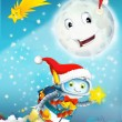 Cartoon smiling moon by the night with the stars — Stock Photo #12836457