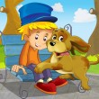 Two friends on the trip - dog and boy - illustration for the children — Stock Photo