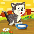 The farm cartoon cat — Stock Photo