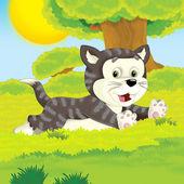 Çiftlik karikatür kedi — Stok fotoğraf