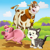 Illustrated cow, pig and cat — Foto Stock