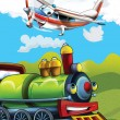Stock Photo: The locomotive and the flying machine