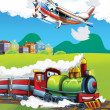 Stock Photo: Locomotive and flying machine