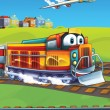 The locomotive and the flying machine — Stock Photo