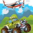 The car and the flying machine - Stock Photo