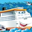 Stock Photo: The big, happy cruise liner