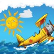 Stock Photo: Cartoon biplane