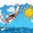 Stock Photo: Little happy, cartoon plane