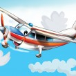 Little happy cartoon plane - Stock Photo