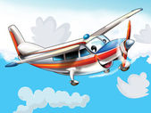 Little happy, cartoon plane — Stock Photo
