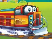 The cartoon locomotive — Stock Photo