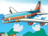 Aviões de passageiros dos desenhos animados — Foto Stock