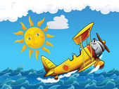 Cartoon biplane — Stock Photo