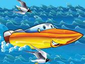 Glad cartoon motorbåt — Stockfoto