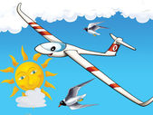 Happy cartoon glider — Stock Photo