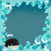 Artistic cartoon frame - waves — Stock Photo