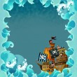 Artistic cartoon frame waves with pirate ship - Stock Photo