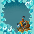 Artistic cartoon frame waves with pirate ship - Stok fotoğraf