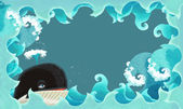 Artistic cartoon frame - waves with whale — Stock Photo
