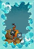 Ondas de quadro de desenho artístico com navio pirata — Foto Stock