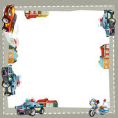 Artistic cartoon frame happy cars — Stockfoto