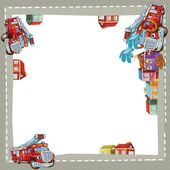 Artistic cartoon frame happy fire truck — Stock Photo