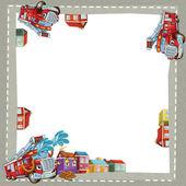 Artistic cartoon frame happy fire truck — Stock Photo