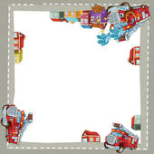 Artistic cartoon frame with happy cars — Stock Photo