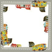 Artistic cartoon frame with happy bus — Stock Photo