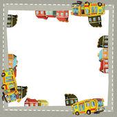 Quadro de desenho artístico com ônibus feliz — Foto Stock