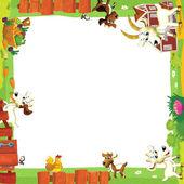 Artistic cartoon frame with animals on a farm — Stock Photo