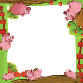 Artistic cartoon frame with animals on a farm — Stock Photo