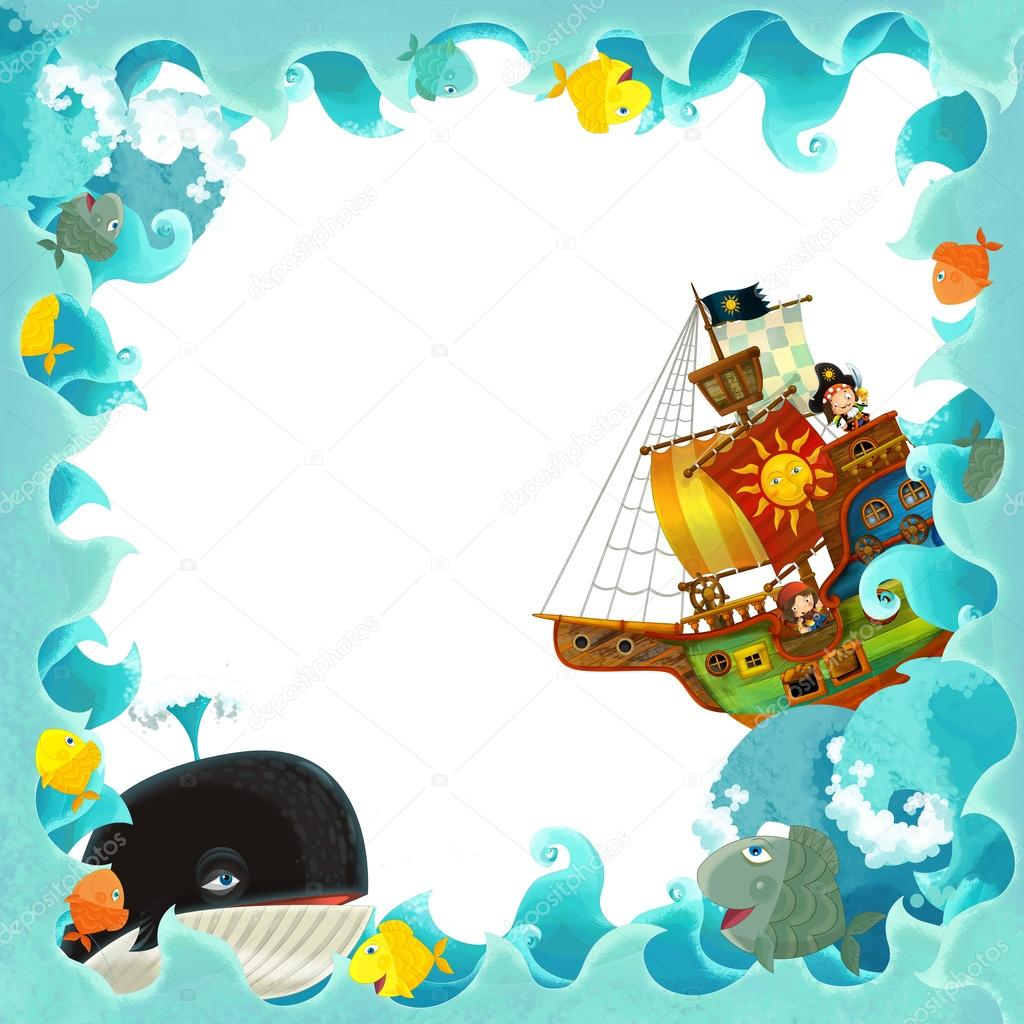 Artistic cartoon frame waves with pirate ship — Stock Photo ...