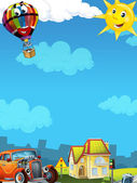 Cartoon city look with hotrod — Stok fotoğraf