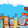 The red firetruck is driving through the city — Stockfoto