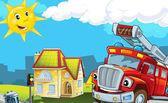 пожарная машина на помощь — Стоковое фото