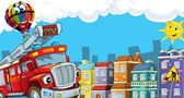 The red firetruck is driving through the city — Stock Photo