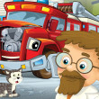 Stock Photo: Stock Photo: red fire truck waiting to be repaired - car doctor is here
