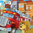 The red truck is happy spending his free time with his friends — Stock Photo #14449769