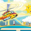 Happy heli flying and landing in the sunny day — Stock Photo