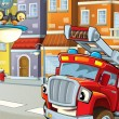 The red firetruck waiting for some action — Foto de Stock