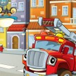The red firetruck waiting for some action — Stock Photo