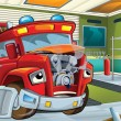 Stock Photo: Red fire truck waiting to be repaired